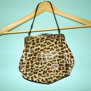 Vintage 50s faux leopard clutch
